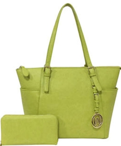 Fashion Faux Handbag with Matching Wallet Set WU1009W LIME