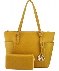 Fashion Faux Handbag with Matching Wallet Set WU1009W MUSTARD