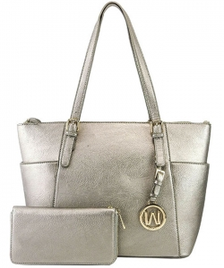 Fashion Faux Handbag with Matching Wallet Set WU1009W PEWTER
