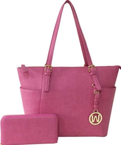 Fashion Faux Handbag with Matching Wallet Set WU1009W RASPBERRY PINK