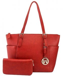 Fashion Faux Handbag with Matching Wallet Set WU1009W RED