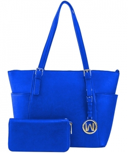 Fashion Faux Handbag with Matching Wallet Set WU1009W RBLUE