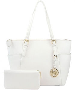 Fashion Faux Handbag with Matching Wallet Set WU1009W WHITE