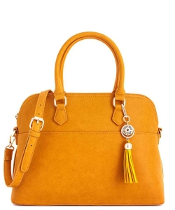 2 in1 Fashion Satchel Bag with Tassel Accent WU1030W MUSTARD