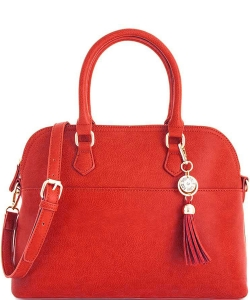 2 in1 Fashion Satchel Bag with Tassel Accent WU1030W RED