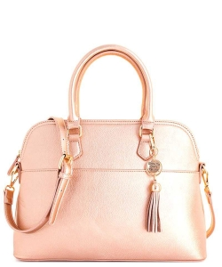 2 in1 Fashion Satchel Bag with Tassel Accent WU1030W ROSEGOLD
