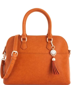 2 in1 Fashion Satchel Bag with Tassel Accent WU1030W TAN