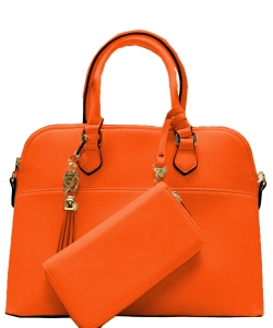2in1 Fashion Satchel Bag with Tassel Accent WU1030W CARROT