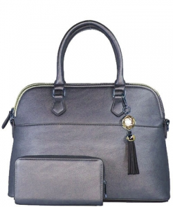 2in1 Fashion Satchel Bag with Tassel Accent WU1030W CHARCOAL GY