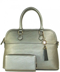 2in1 Fashion Satchel Bag with Tassel Accent WU1030W LPEWTER