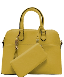2in1 Fashion Satchel Bag with Tassel Accent WU1030W MUSTARD
