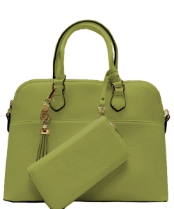 2in1 Fashion Satchel Bag with Tassel Accent WU1030W OLIVE