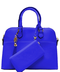 2in1 Fashion Satchel Bag with Tassel Accent WU1030W RBLUE