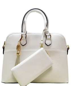 2in1 Fashion Satchel Bag with Tassel Accent WU1030W WHITE
