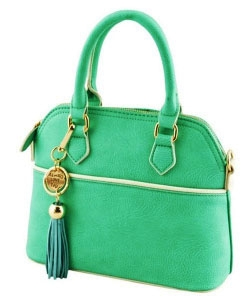 Vegan Leather Top Handle Cute Mini Dome Satchel Handbag WU1040 MINT