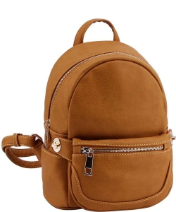 2in1 Modern Chic Backpack with Detachable Front Waist bag WU1091 MUSTARD