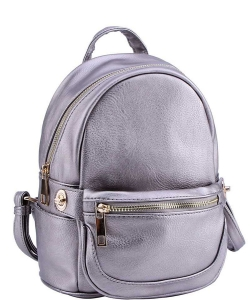 2in1 Modern Chic Backpack with Detachable Front Waist bag WU1091 PEWTER