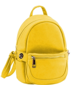 2in1 Modern Chic Backpack with Detachable Front Waist bag WU1091 YELLOW