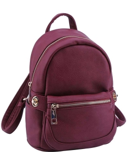Cute Chic Backpack with Detachable Front Waist Bag WU1095 BURGUNDY
