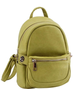 Cute Chic Backpack with Detachable Front Waist Bag WU1095 LIME
