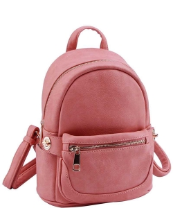 Cute Chic Backpack with Detachable Front Waist Bag WU1095 PEACH