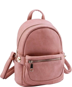 Cute Chic Backpack with Detachable Front Waist Bag WU1095 ROSE PINK