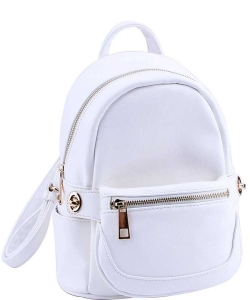 Cute Chic Backpack with Detachable Front Waist Bag WU1095 WHITE