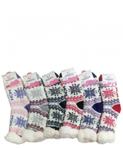 12 Pairs Winter Fleece Lined Thermal Fuzzy Socks WWZ801
