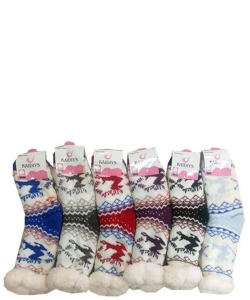 12 Pairs Winter Fleece Lined Thermal Fuzzy Socks WWZ802