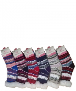 12 Pairs Winter Fleece Lined Thermal Fuzzy Socks WWZ808