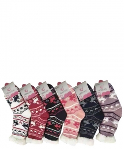 12 Pairs Winter Fleece Lined Thermal Fuzzy Socks WWZ809