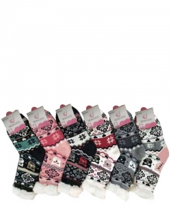 12 Pairs Winter Fleece Lined Thermal Fuzzy Socks WWZ810