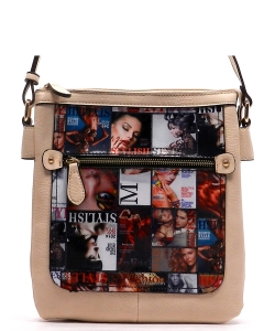 Magazine Print Design Crossbody Bag WYP2001a ALMOND