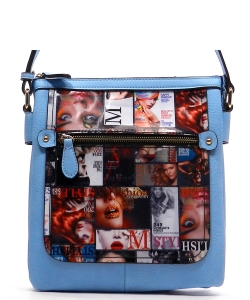 Magazine Print Design Crossbody Bag WYP2001a BLUE