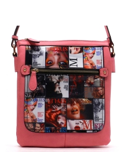 Magazine Print Design Crossbody Bag WYP2001a PINK