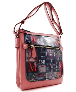Magazine Print Design Crossbody Bag WYP2001d PINK