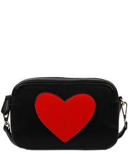 Heart Shaped Patch Crossbody Bag  XB1686 BLACK