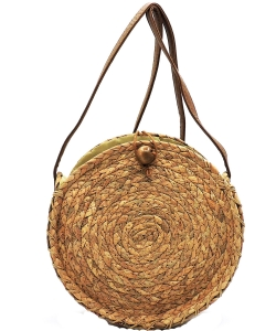 Straw Round Crossbody Bag XB1713 NATURAL