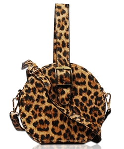 Round Faux Animal Print Crossbody Bag for Women XB1762 LEOPARD