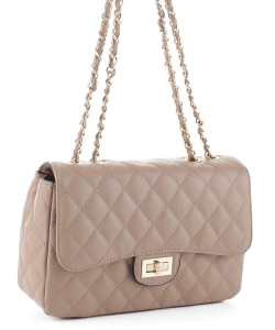 Quilted Twistlock Satchel Crossbody  Bag XB20031 TAUPE
