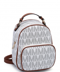 Trendy Cute Modern Backpack Gold tone Hardware XB2421 BIEGE