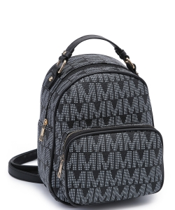 Trendy Cute Modern Backpack Gold tone Hardware XB2421 BLACK