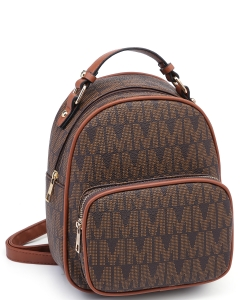 Trendy Cute Modern Backpack Gold tone Hardware XB2421 COFFEE