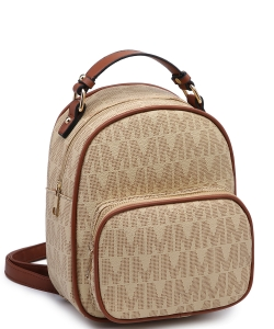 Trendy Cute Modern Backpack Gold tone Hardware XB2421 TAUPE