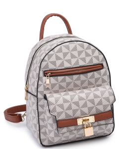 Trendy Cute Modern Backpack Gold tone Hardware XB2440-1 TAUPE