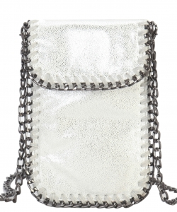 Whipstitch Accent Metal Chain Cross Body Cellphone Case Y-1722  SILVER