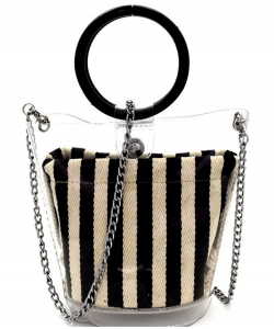 Round Handle 2 in 1 Clear Satchel With Pinstriped Inner Bag Y101 BLACK