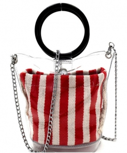 Round Handle 2 in 1 Clear Satchel With Pinstriped Inner Bag Y101 RED