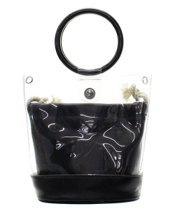 Round Handle 2 in 1 Clear Satchel With Plane Inner Bag Y102 BLACK