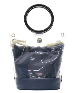 Round Handle 2 in 1 Clear Satchel With Plane Inner Bag Y102 NAVY